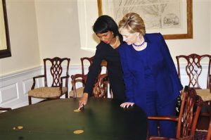 Secretary of State Condoleezza Rice meets with President-elect Barack Obama's Secretary of State nominee Hillary Clinton at the State Department in Washington January 15, 2009. Picture taken January 15, 2009. REUTERS/State Department/Handout